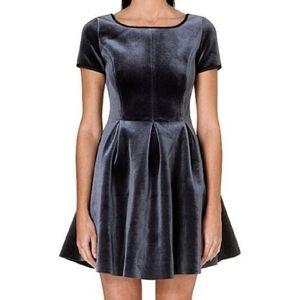 Maje Gray Velvet Fit & Flare Mini Dress NWT Size 3